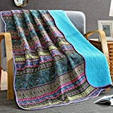 quilt rug - NEWLAKE Quilt Throw Blanket with Reversible Floral Patchwork, Blue Jacquard, 60X78 Inch