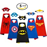 MIJOYEE Superheros Capes and Mask Costumes for kids 5Pcs Cartoon Dress Up Double-sided Costumes (Costumes for Boys)