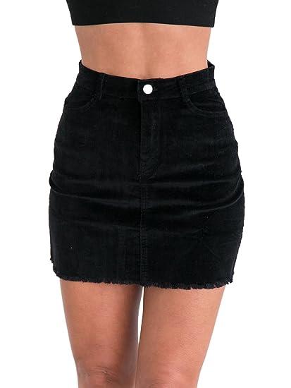 b467fa4904 Simplee Women s Vintage Retro Corduroy High Waisted Bodycon Mini Skirt  Black Black ...