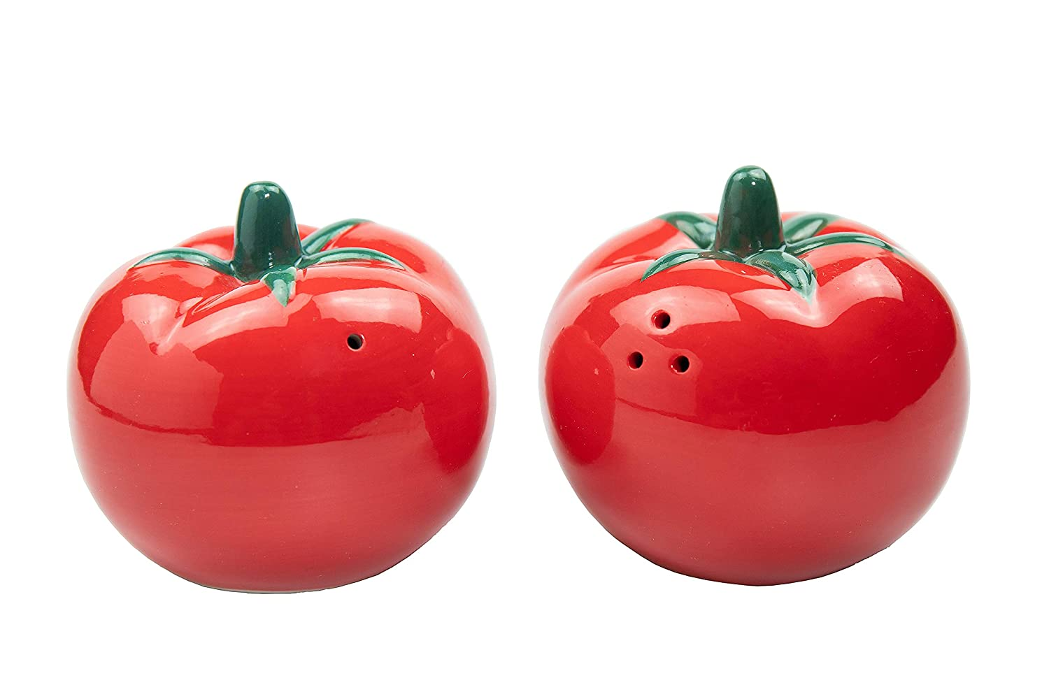 Exquisite Hand paint WD-Cute Red Tomato Shaped Ceramic Salt and Pepper Shaker Set Dai 3inch Gifts for Kitchen Thailand