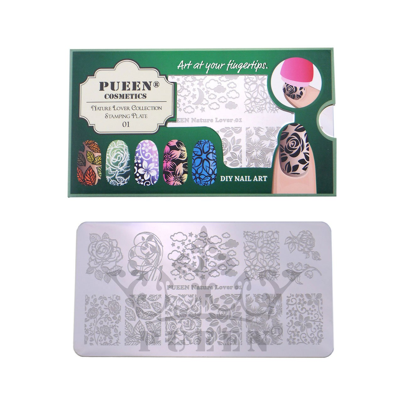 PUEEN Nail Art Stamping Plate - Nature Lover 01-125x65mm Unique Nailart Polish Stamping Manicure Image Plates Accessories Kit-BH000558
