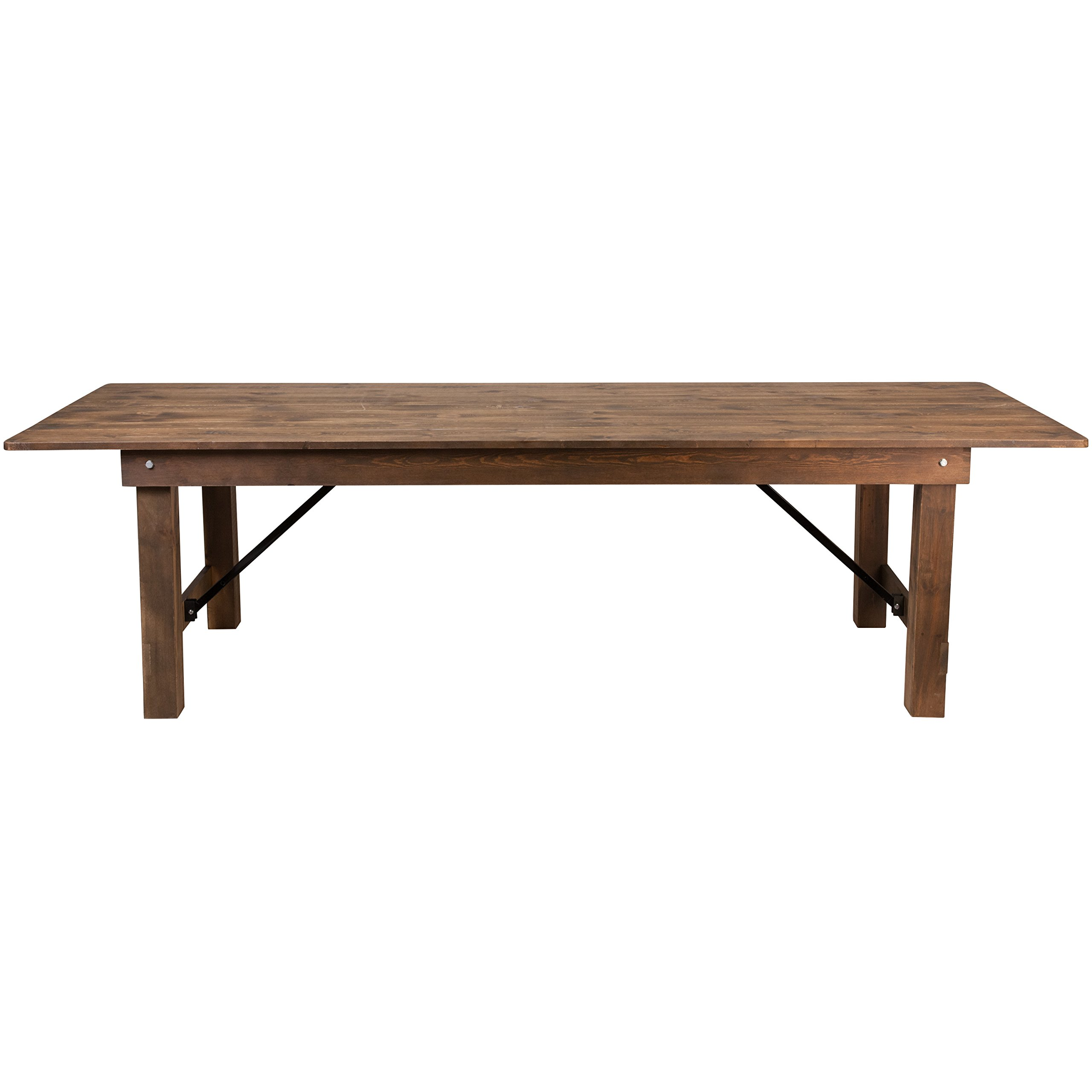 Flash Furniture HERCULES Series 9' x 40'' Antique Rustic Solid Pine Folding Farm Table by Flash Furniture (Image #2)