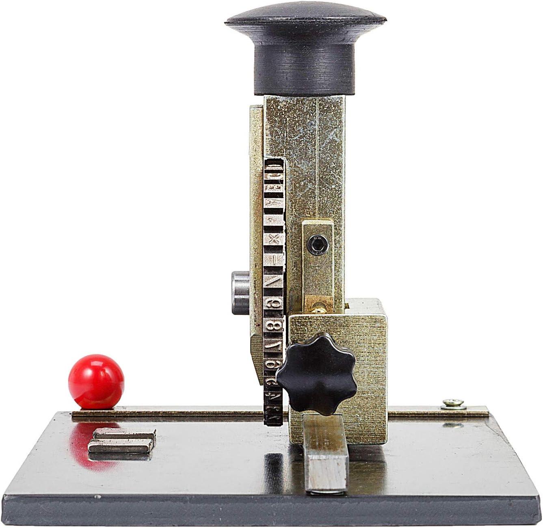 VEVOR Manual Embossing Machine Diameter 84 mm Metal Plate Stamping Embosser Deboss Dog Tag Printer with 4mm Character Steel Wheel