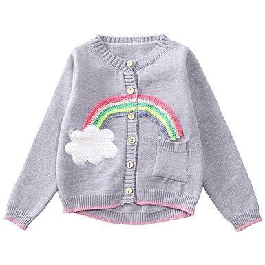 21f8daaa1 Kids Baby Girls Knitted Button Down Cardigan Jumper Warm Knitwear ...