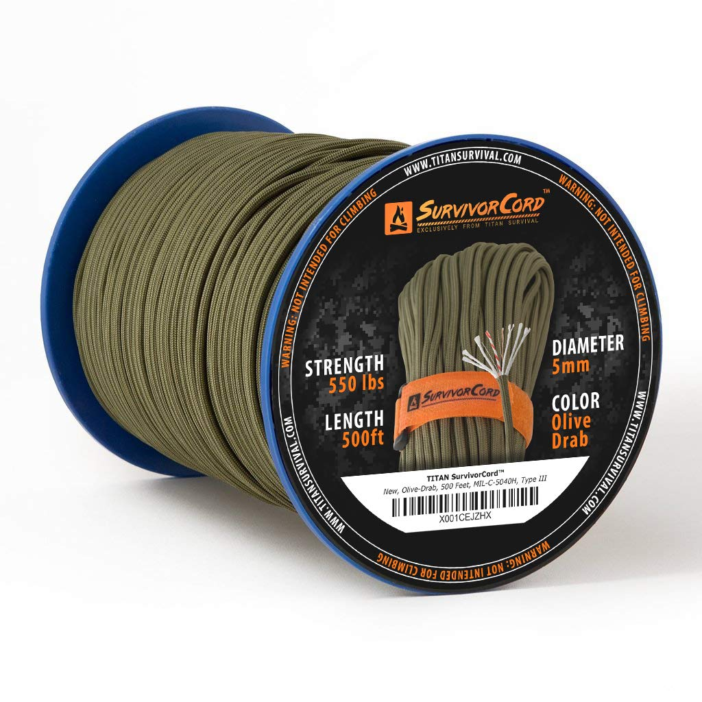 Titan SurvivorCord Spool | Olive-DRAB, 500 FEET - Patented MIL-SPEC 550 Paracord (3/16'' Diameter) with Integrated Fishing Line, Fire-Starter, and Utility Wire. Free Paracord Project eBooks Included.