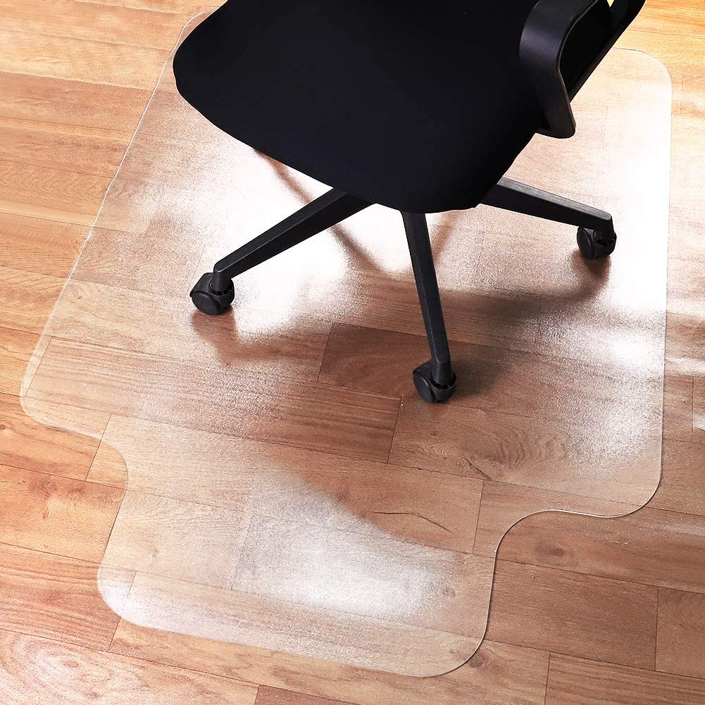 """Office Chair Mat Protector for Hardwood Floor, 48""""X36"""", 2.4mm Thick, Textured Surface for Easy Roll, Durable Hard Floor Desk Chair Mats with Lip, Easy Flat and Clean, Computer Desk Protector"""