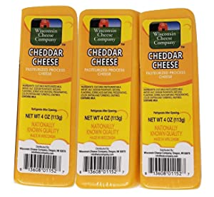 Wisconsin Cheese Company (6-4oz.) 100% Wisconsin Cheddar Cheese Packages | Great with Crackers | Cheddar Cheese Blocks, NATIONALLY KNOWN WISCONSIN CHEESE COMPANY QUALITY.