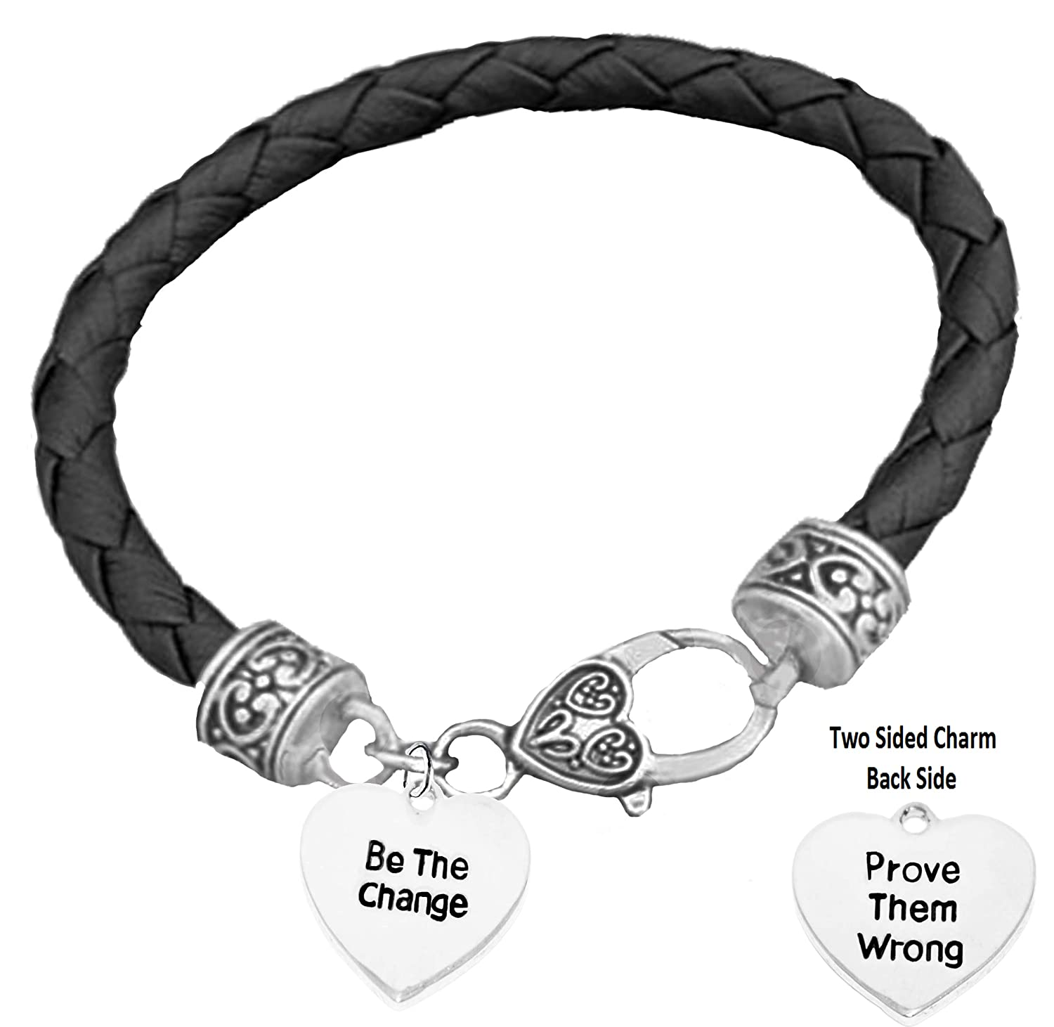 Lead and Cadmium Free Hypoallergenic Safe-Nickel CardinaliJewelry Be The Change Prove Them Wrong On Genuine Black Leather Bracelet