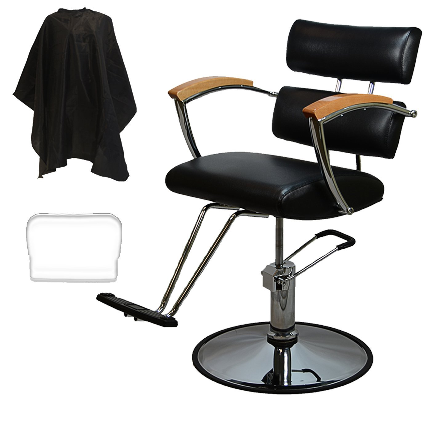 LCL Beauty Contemporary Black Hydraulic Barber Styling Chair with Oak Armrests PRO-6513-OAK