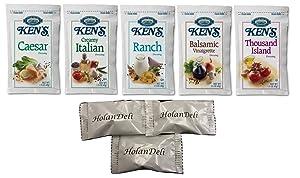 (25 Packets) Ken's Steak House Assorted Salad Dressing 5 Flavors 1.5 oz Packets. (Caesar, Ranch, Creamy Italian, Balsamic Vinaigrette, Thousand Island ). Includes HolanDeli Mints.