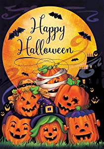 "Dtzzou Happy Halloween Pumpkin Garden Flag 12"" x 18"" Outdoor & Indoor Decorative Double Sided Flag for Halloween Decoration"