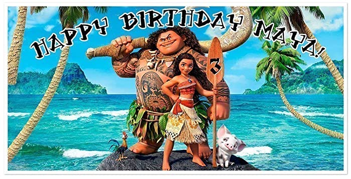 Amazon Moana Birthday Banner Personalized Party Backdrop Decoration Handmade