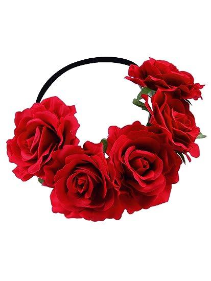 Rosa Corona Floreale Ghirlanda Fasce per Capelli Fiore Corona per Donne  Ragazze 0eb30cbd541f