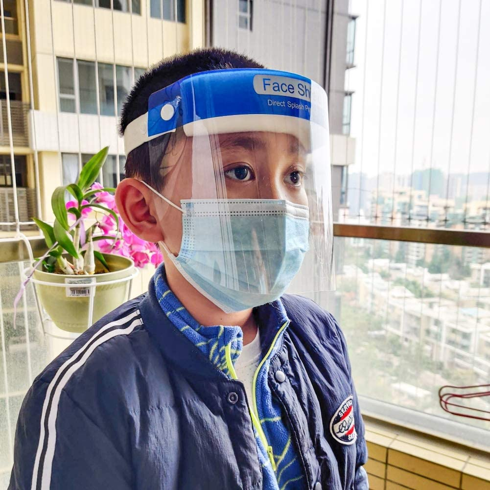 Kids Clear Anti-Fog Dust-Proof Protective Visor Full Face Covering Cover Shield Blue BroKet Face Shields Protection Supplies