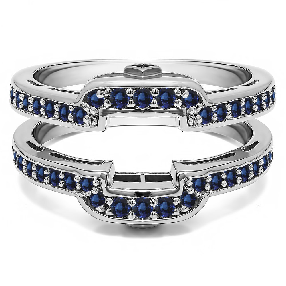 Silver Square Halo Style Wedding Ring Guard with Sapphire (0.49 ct. twt.)