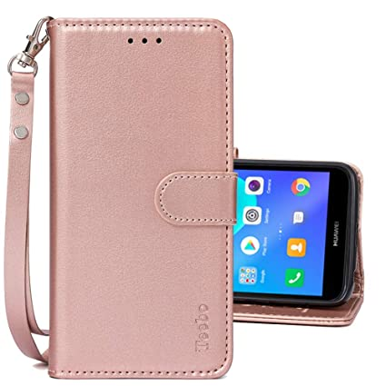 Flip Cases for Huawei Y5 2018/Y5 Prime 2018, PU Leather Magnetic Closure  Wallet Phone Cases [Kickstand Feature] with Card Slots Wrist Strip Phone