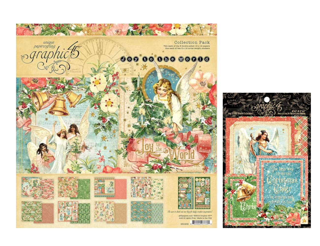 Graphic 45 Joy to The World Collection Set: 12x12 Collection Pack Plus Ephemera Cards