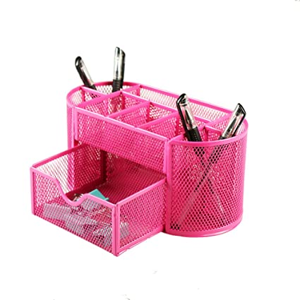 Xinyaoshi Mesh Desk Accessories Organizer 9 Space Saving Writing Supplies  Compartments With A Large Drawer (