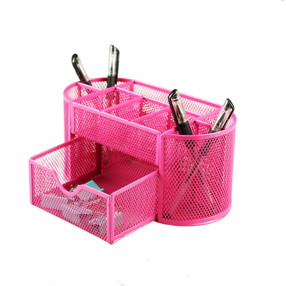 Xinyaoshi Desk Organizer, Metal Mesh, 1 Slide Drawer, 8 Compartment, School, Office Supplies, Storage Caddy with Drawer (Pink)