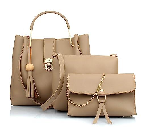 Buy Mammon Women's Handbags Combo (Set of 3) (Cream) at Amazon.in