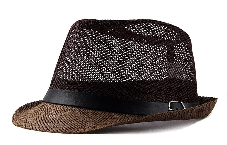 FENGFA Classic Mens Panama Straw Hat Summer Outdoor Tourist Beach Cap Sun Hat FF-A05