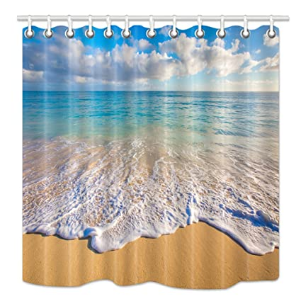HNMQ Beach Shower Curtain Tropical Ocean And Waves At Sunrise Sun On Sea Upgrades