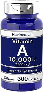 Horbaach Vitamin A 10000 IU (300 Softgels) | Premium Non-GMO, Gluten Free Supplement
