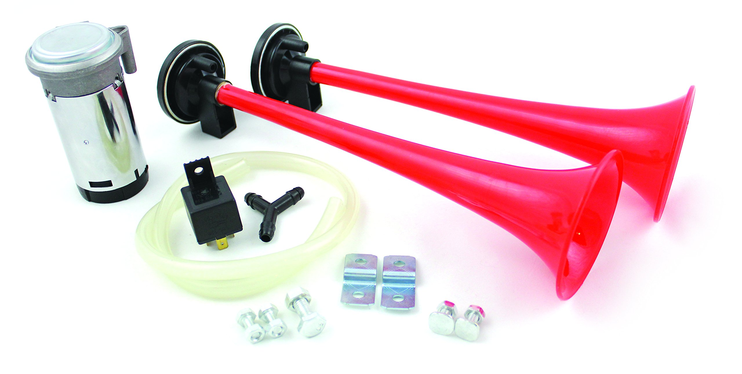 FIAMM 66040'' Big Boss 2 Long Trumpet Horns w/HVY Duty 12 V Compressor Kit, 10 Pack