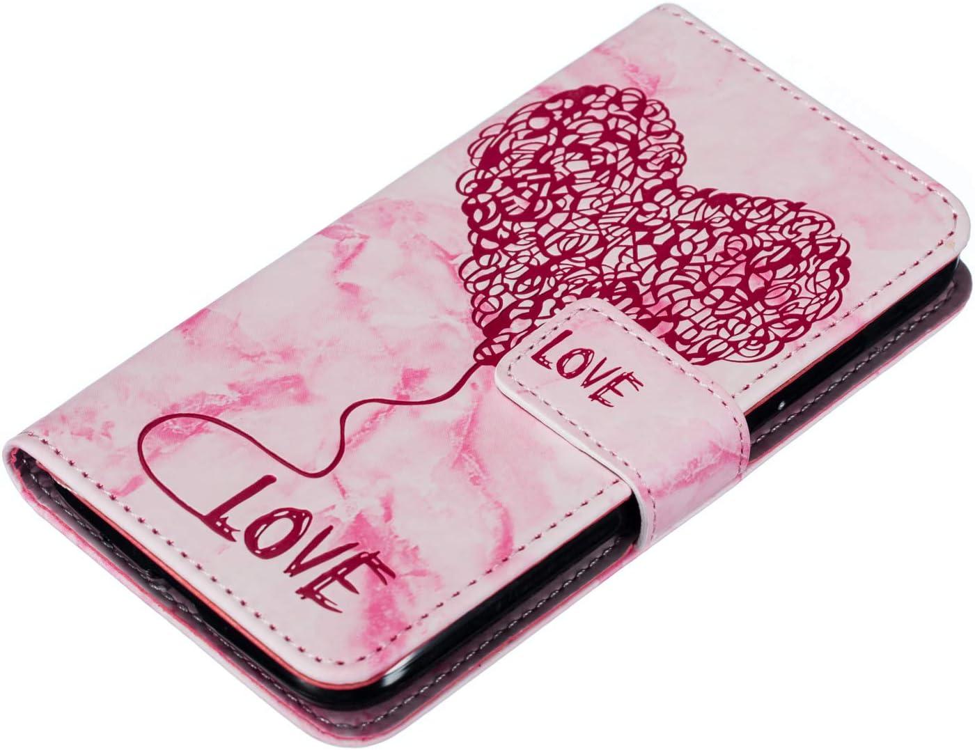 Kompatibel mit Handy H/ülle Huawei Y3 2017 Lederh/ülle Marmor Liebe Herz Muster Flip Case Cover Bunt Brieftasche Klapph/ülle Ledertasche D/ünn Tasche Handytasche Handy Schutzh/ülle,Blau