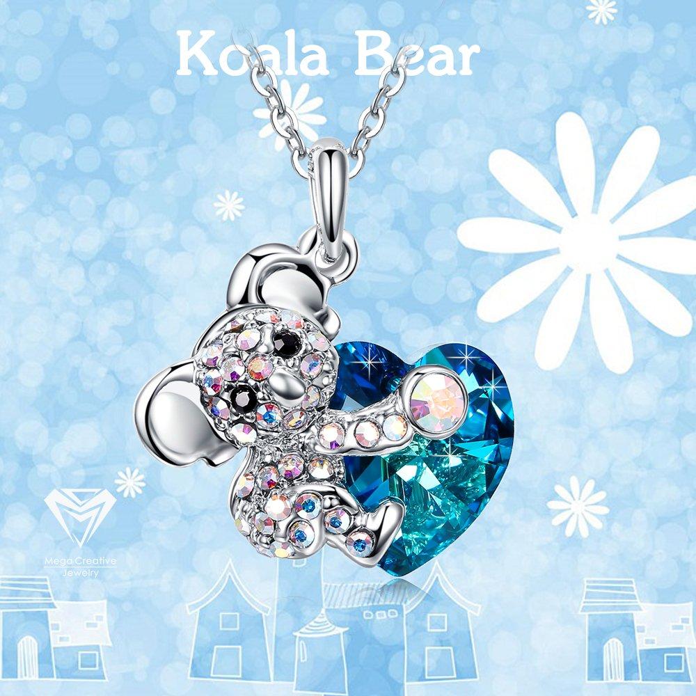 MEGA CREATIVE JEWELRY Collier Koala pour Femme avec Cristaux de Swarovski Bleu Coeur