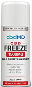 1500 mg Hemp Organic Freeze ROLL ON Pain Stress Relief Cold Topical Therapy Vegan Aches Inflammation Soreness USA Grown Gluten Free Non GMO Skin Immune Support Hydration Inflammation