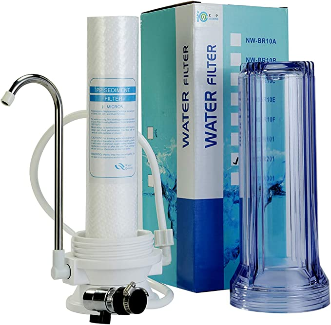 HUINING - Purificador de agua potable de una sola etapa con filtro transparente de PP de escritorio: Amazon.es: Hogar