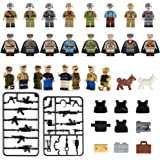 Mini Figures Set-24 Piece Army Minifigures with Military Weapons Accessories, Building Bricks of Army Soldier Minifigure Include 5 Kinds Body Armor,Building Blocks Kids Educational Toy Gift (24 piece)