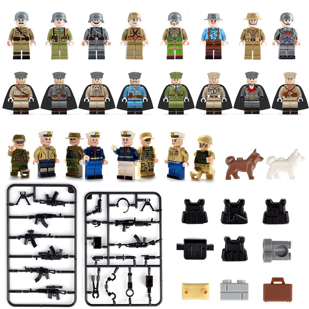 Minifigures set-24 Army Marine Corps with Military Weapons Accessories Navy Soldier Minifigures Toys Building Blocks 100% Compatible Review