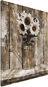 """Rustic Floral Country Farmhouse Sunflower Canvas Printed Framed Artwork Prints For Living Room Bedroom Modern Home Decor Ready To Hang Stretched 16""""X20"""""""