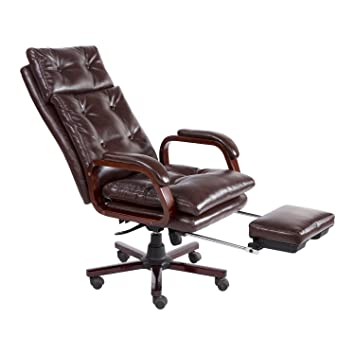 HomCom PU Leather High Back Reclining Office Napping Chair With Footrest    Brown