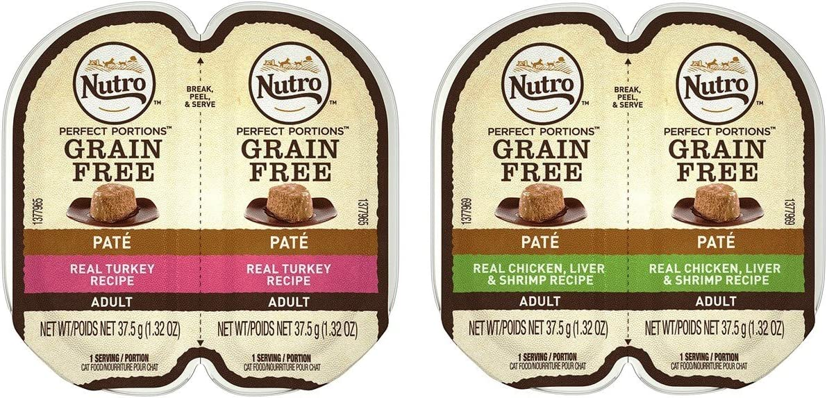 Nutro Perfect Portions Grain Free Soft Loaf Cat Food 2 Flavor 8 Can Variety Bundle, (4) Each: Turkey, and Chicken Liver & Shrimp - 2.6 Ounces (8 Cans Total)