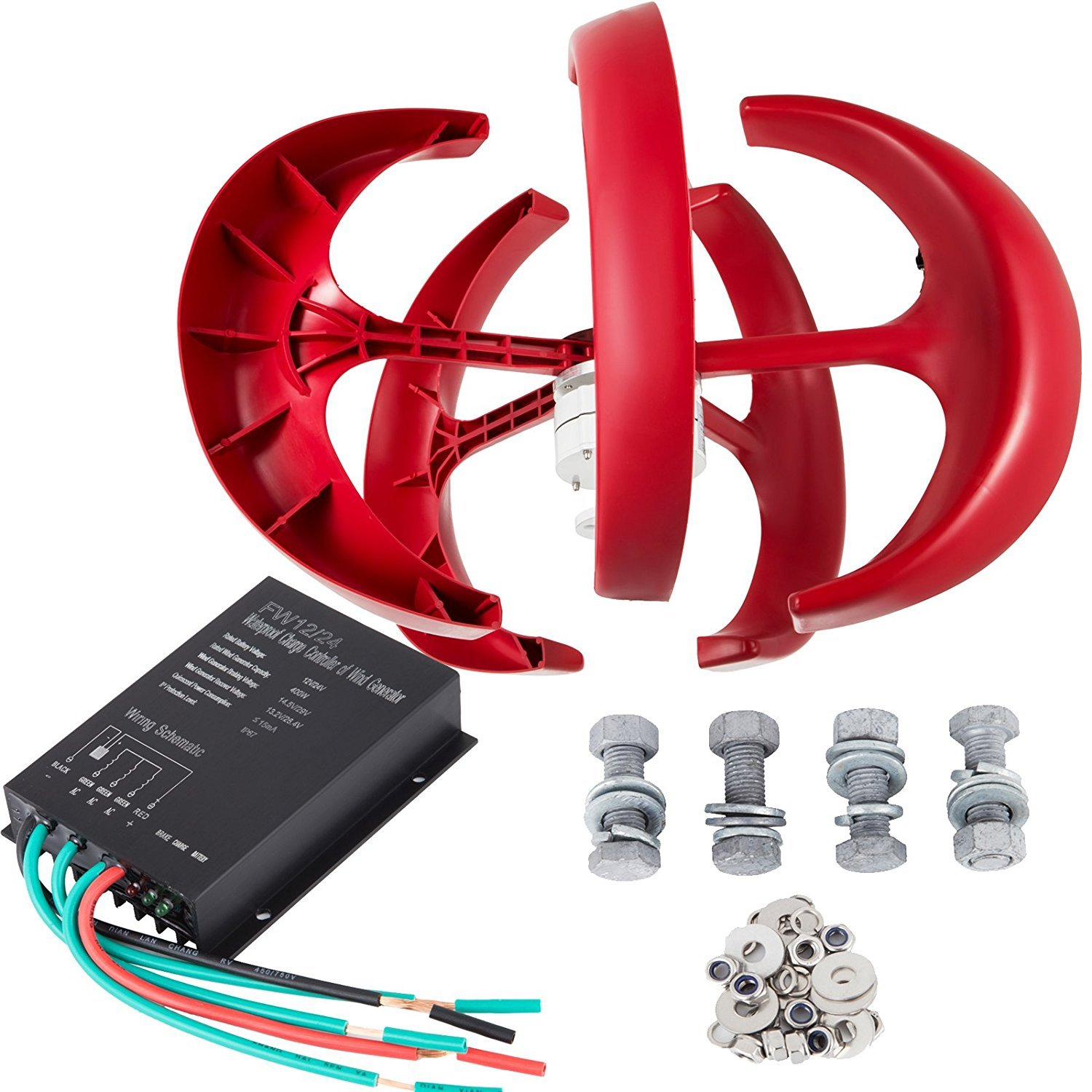 FORAVER 100W DC 24V Wind Turbine Generator Kit 5 Blades Vertical Wind Power Turbine Generator Red Lantern with Charge Controller for Power Supplementation (100W 24V)