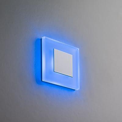 Éclairage d'escalier LED Premium SunLed Small Bleu en aluminium blanc 230V 1W verre véritable boîte Escaliers niveaux de Leuchten Éclairage d'escalier avec mural encastré é