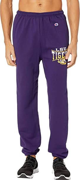 637f9833c67e7 Champion College Men s LSU Tigers Eco Powerblend Banded Pants Champion  Purple 1 Small 31