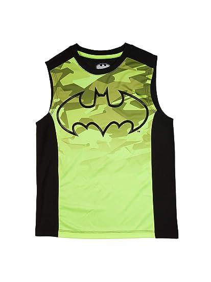 7de0c555c727d Amazon.com  Batman Boys Acid Yellow   Black Sleeveless Muscle Tank ...