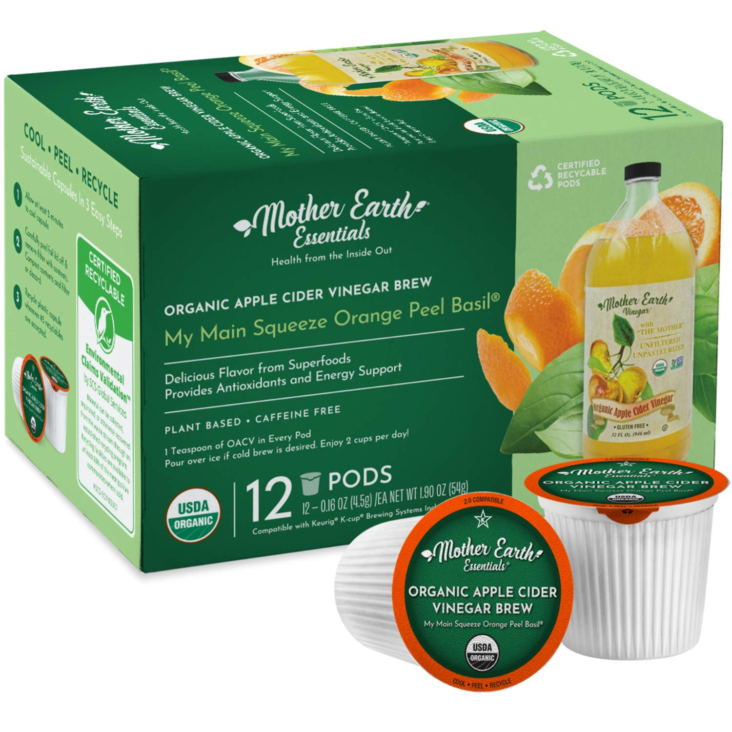 Mother Earth Essentials Superfood Tea MY MAIN SQUEEZE ORANGE PEEL BASIL infused with Organic Apple Cider Vinegar with The Mother. Your daily dose with fruit & herbs. Organic. (12 Single Serve Pods)
