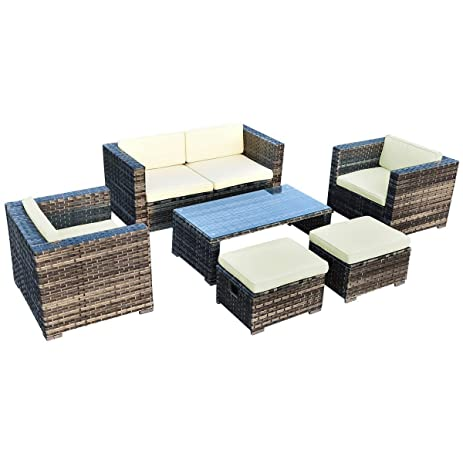 Amazon Tangkula 6 Pcs Outdoor Wicker Sofa Set Rattan