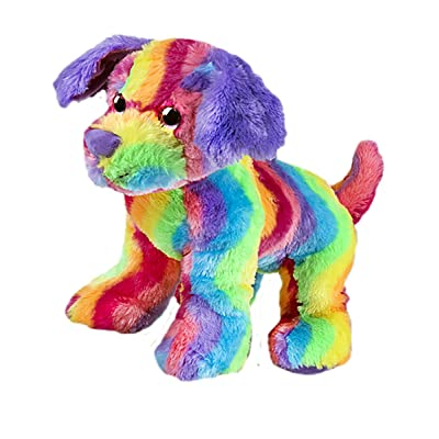 Cuddly Soft 16 inch Stuffed Rainbow Stripe Dog...We Stuff 'em...You Love 'em!: Toys & Games