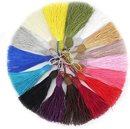 Image ofRUBY - 50 Borlas de hilo, borlas suaves y sedosas, flecos para la fabricación de joyas, manualidades, recuerdo, marcadores, accesorio de arte DIY. (Mixto)