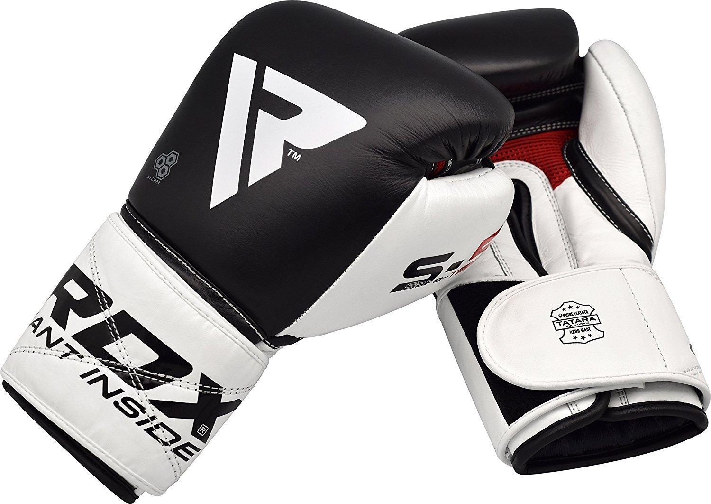 RDX Guantes de Boxeo Kick Boxing Muay Thai Sparring Adulto Genuino Cuero Vacuno Entrenamiento Sparring Combate Saco