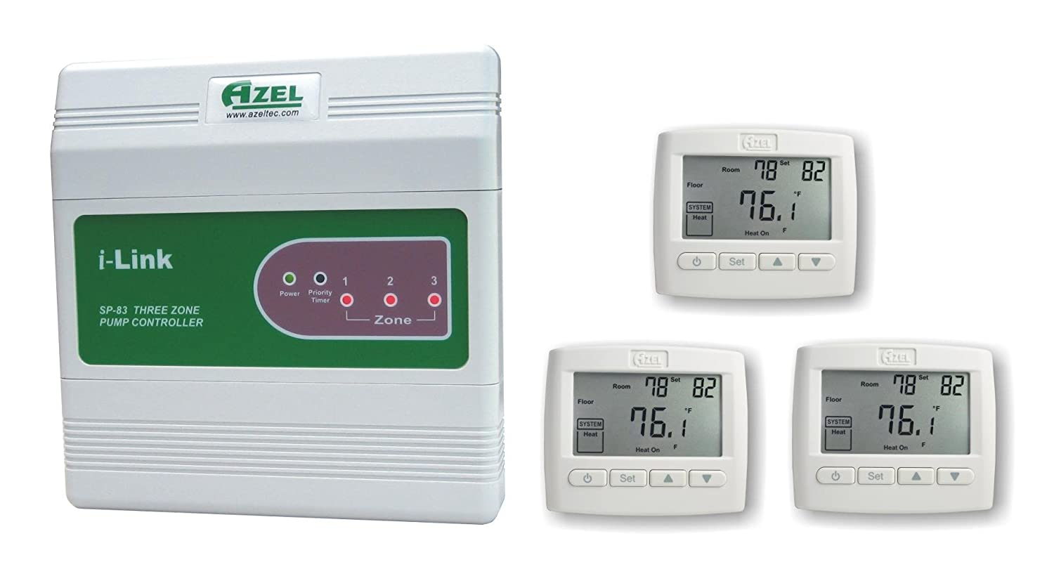 Package Deal: Azel 3 Zone Switching Relay with 3 Floor Heating Thermostats for Hydronic Radiant Floor Heating Systems