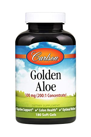 Carlson Golden Aloe 100 mg, 200 1 Equivalent to 20,000 mg, 180 Soft Gels