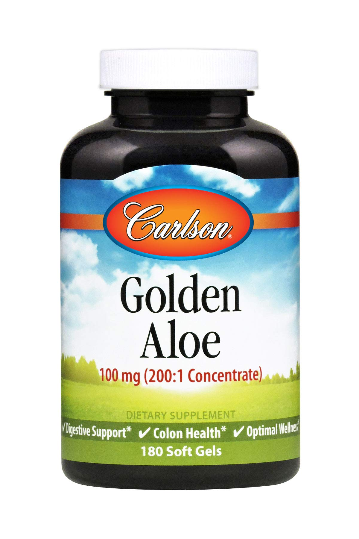 Carlson - Golden Aloe, 100 mg (200:1 Concentrate), Digestive Support & Colon Health, Optimal Wellness, 180 Soft gels
