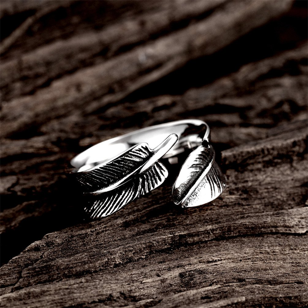 HMILYDYK 9mm 316L Stainless Steel Vintage Punk Rock Leaf Feather Adjustable Ring for Mens Womens by HMILYDYK (Image #4)